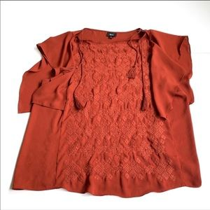Mossimo Burnt orange blouse embroidered large